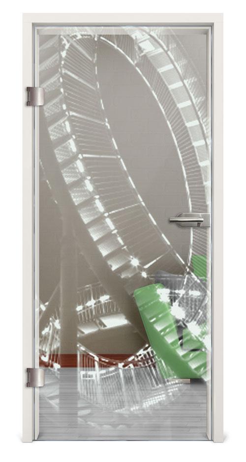 Ganzglastür gelasert - Motiv Roller Coaster