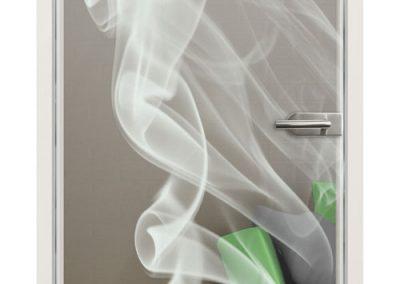 Glastür gelasert - Motiv Smoke