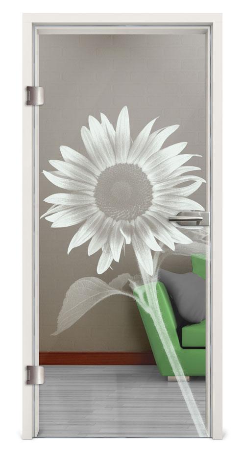 Glastür Lasergravur - Motiv Sunflower