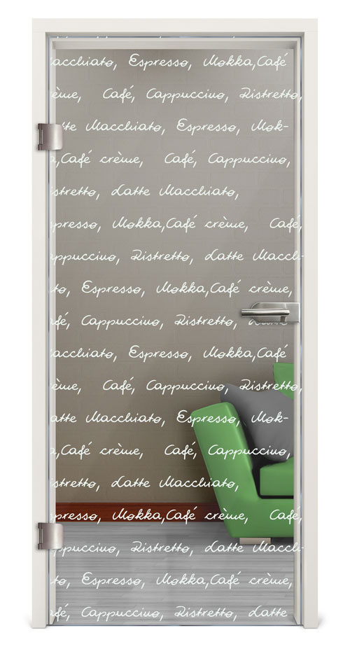 Glastür Lasergravur - Motiv Typographie 03
