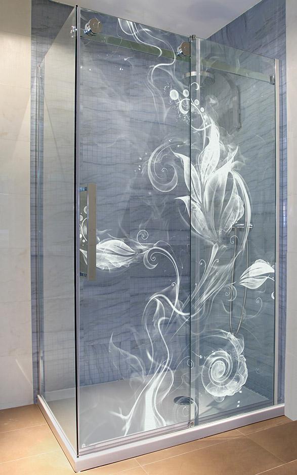 Glasdusche gelasert - Motiv Dreamflower