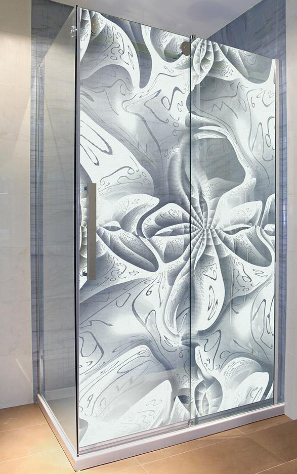 Glasdusche gelasert - Motiv geheimnisvolle Schönheit