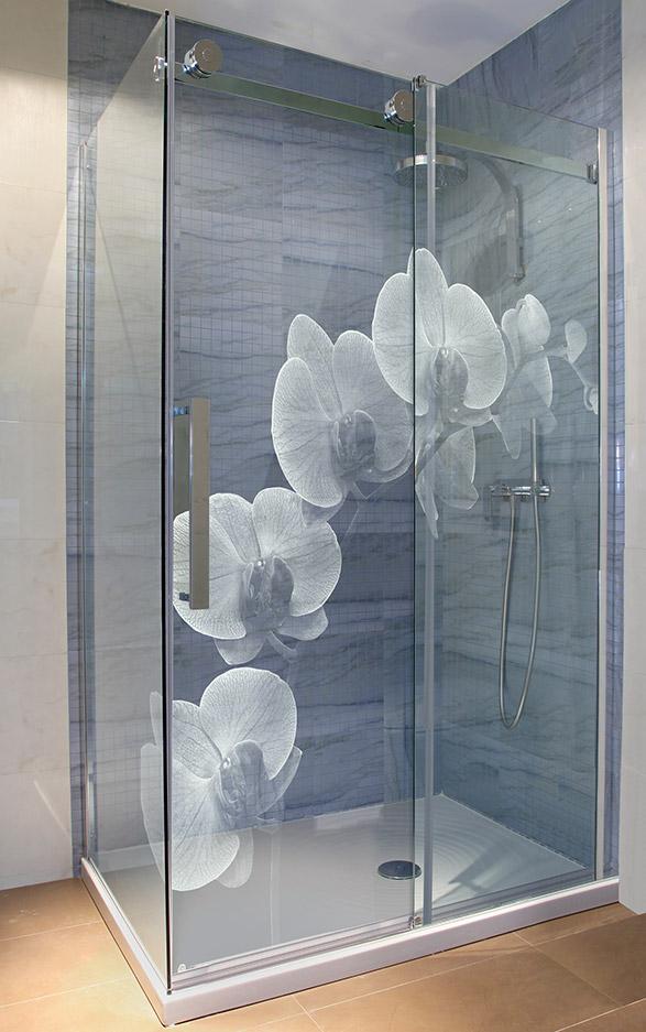 Glasdusche gelasert - Motiv Orchidee