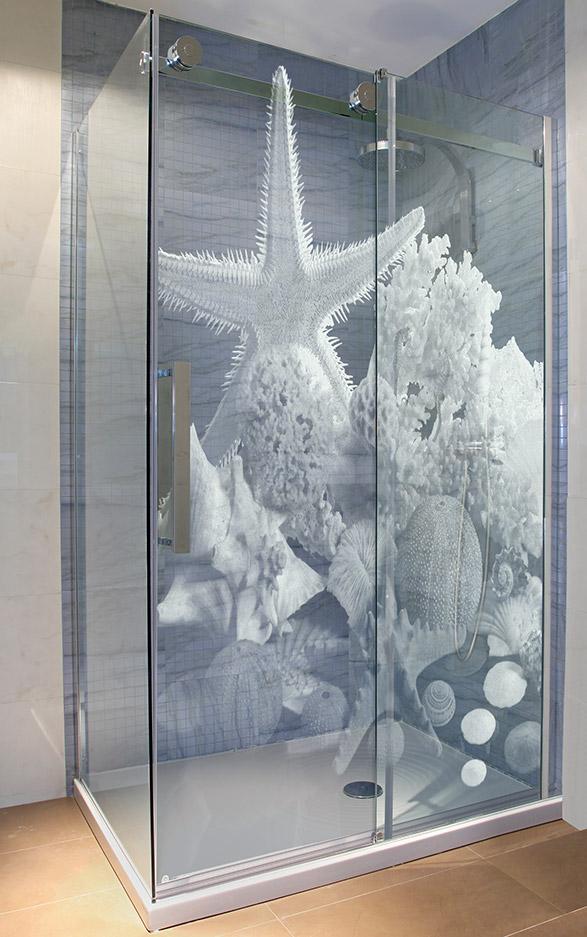 Glasdusche gelasert - Motiv Wasserwelt