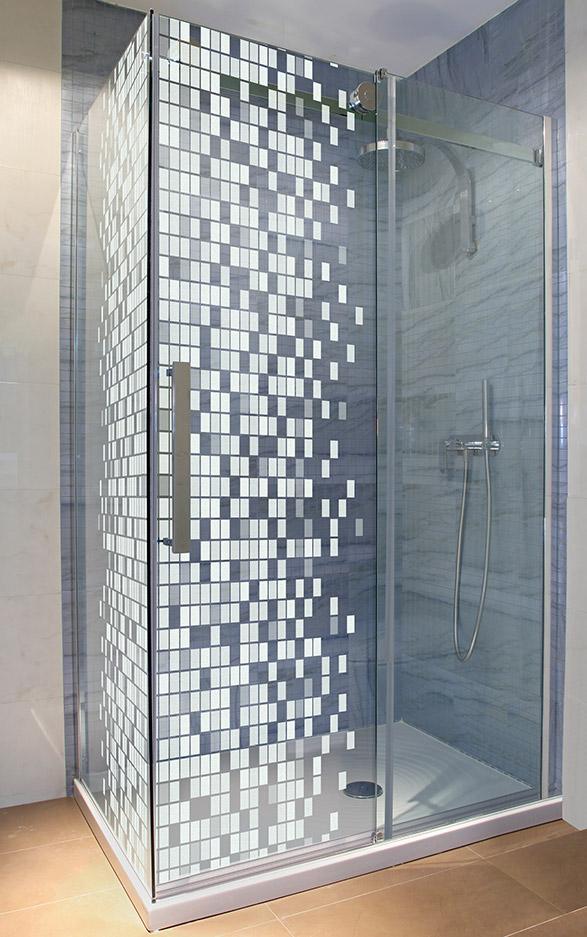 Glasdusche Lasergravur - Motiv Modern Mosaik