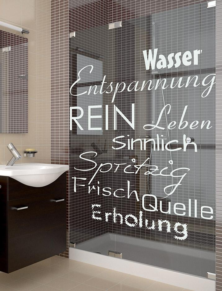 Glasdusche Lasergravur - Motiv Wasser Wort Spiel