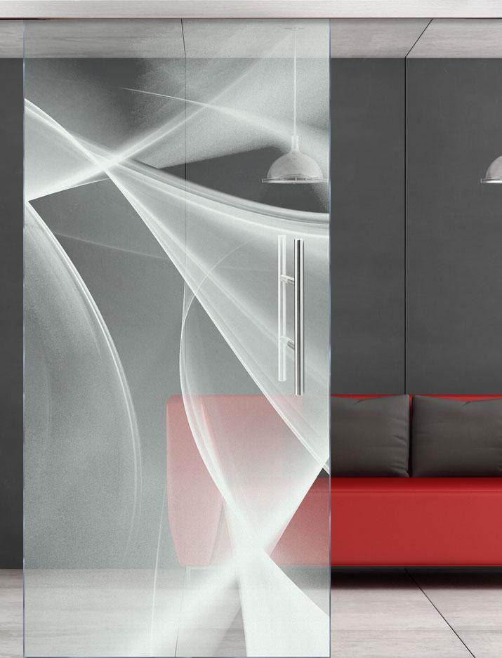 Glasschiebetür mit Motiv Tango-Alpha gelasert vor Hintergrundbild