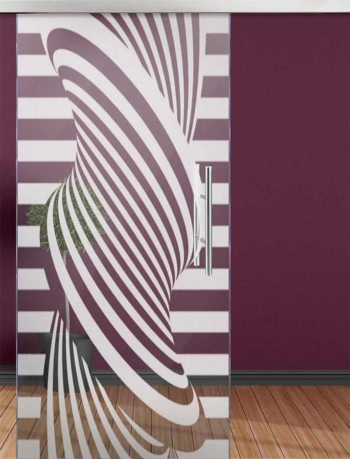 Glasschiebetür sandgestrahlt - Motiv 3D Spirale