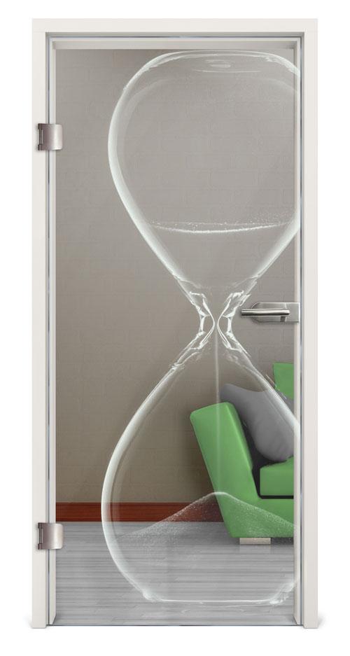 Glastür gelasert - Motiv Hourglass