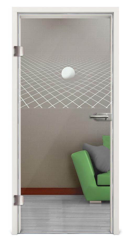 Glastür Lasergravur - Motiv 3D Ball