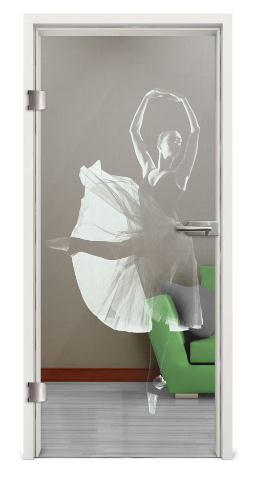 Glastür Lasergravur - Motiv Ballerina
