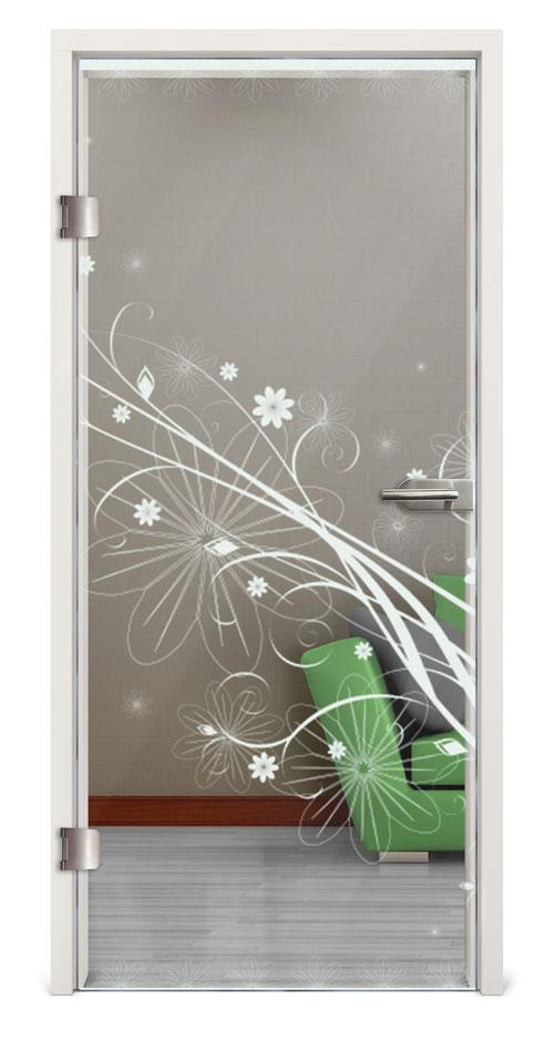 Glastür Lasergravur - Motiv Floral