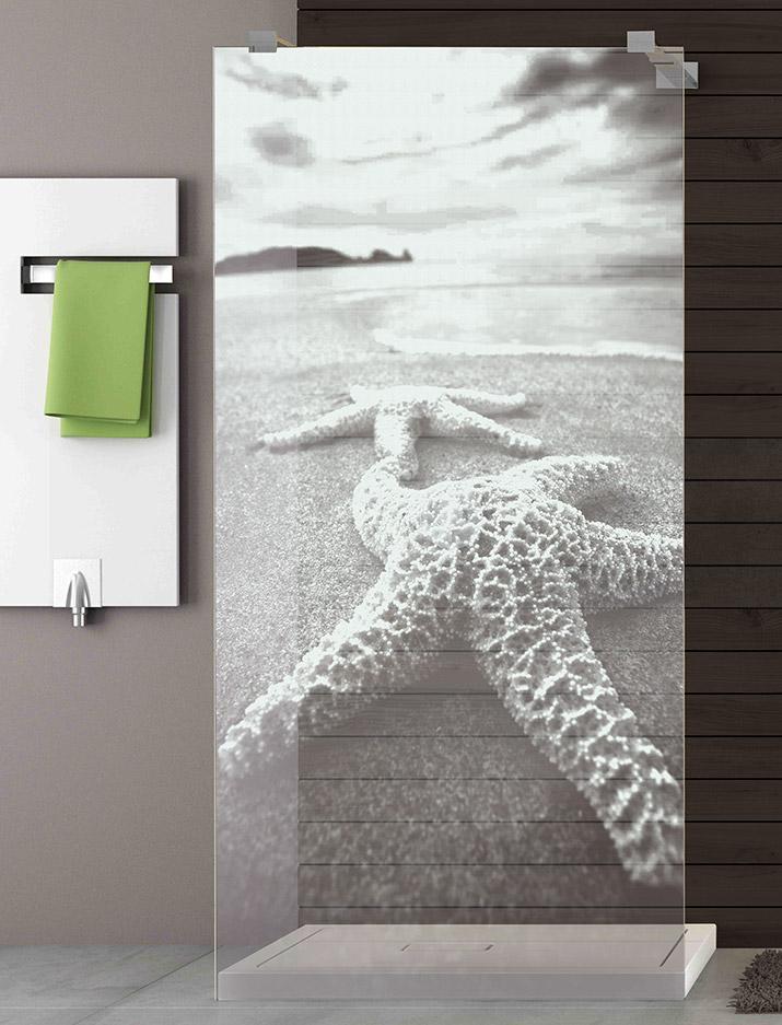 Walk-In Glasdusche Lasergravur - Motiv Seestern an der Küste