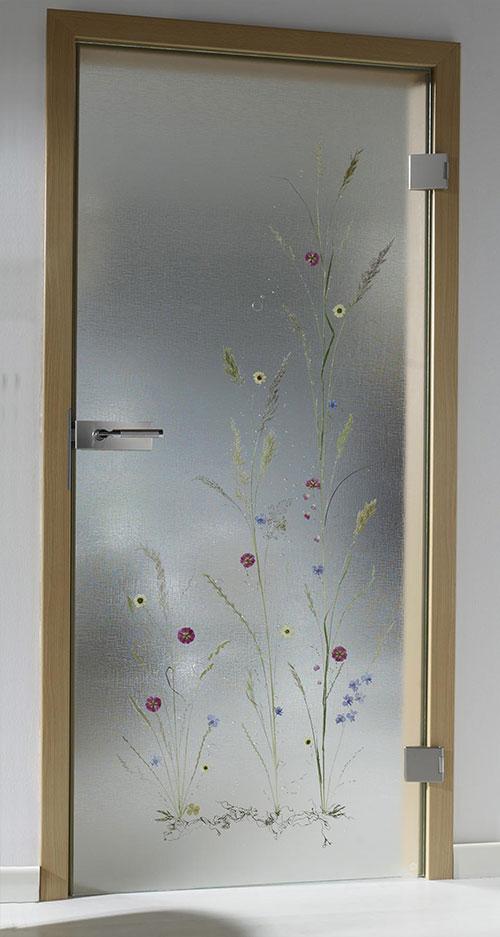 Ganzglastür Flora - Motiv Bauerngarten