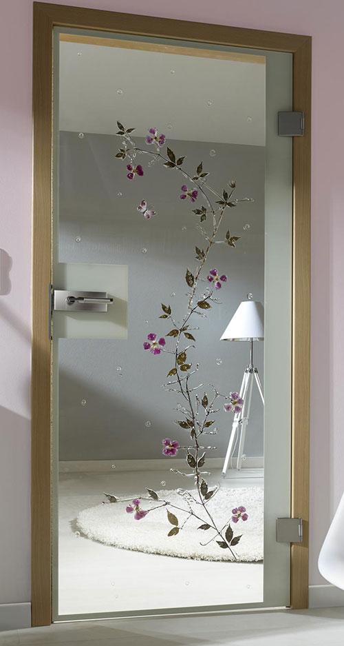 Ganzglastür Flora - Motiv Clematis