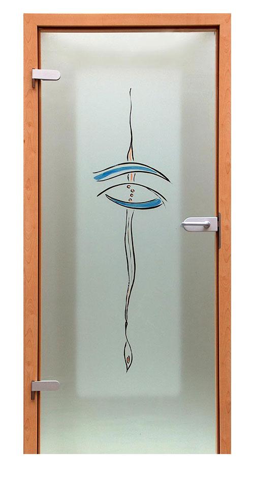 Ganzglastür Glasmalerei - Motiv Pirouette