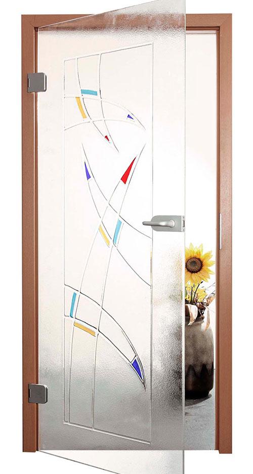 Ganzglastür Schmelzglas - Motiv Kandinsky