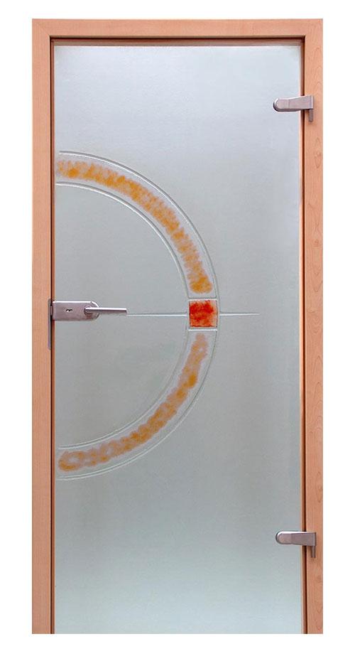 Ganzglastür Schmelzglas - Motiv Kyodo