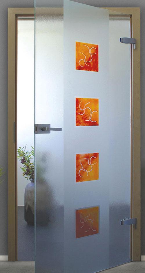 Ganzglastür Schmelzglas - Motiv Matisse