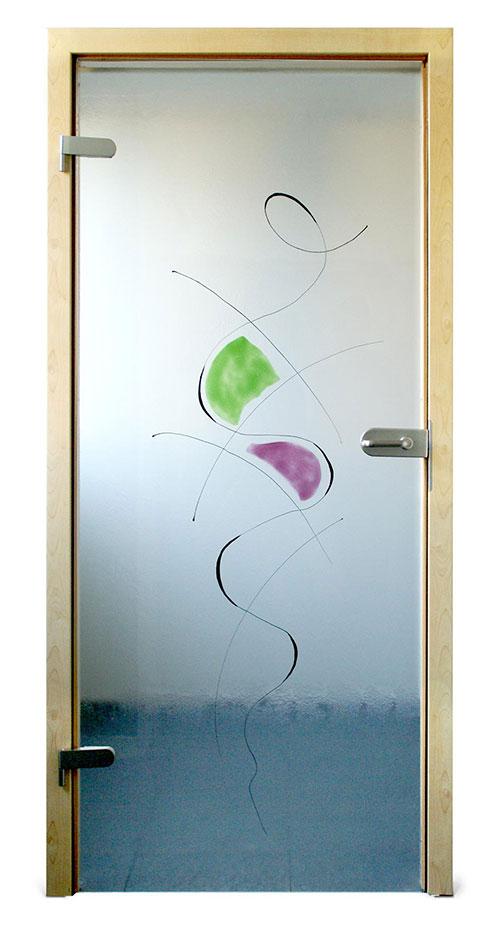 Ganzglastür Schmelzglas - Motiv Miro